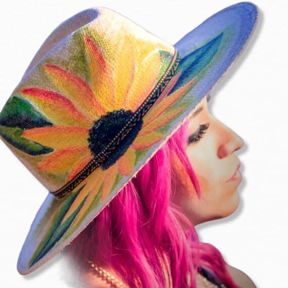 Girasol sombrero pintado a mano